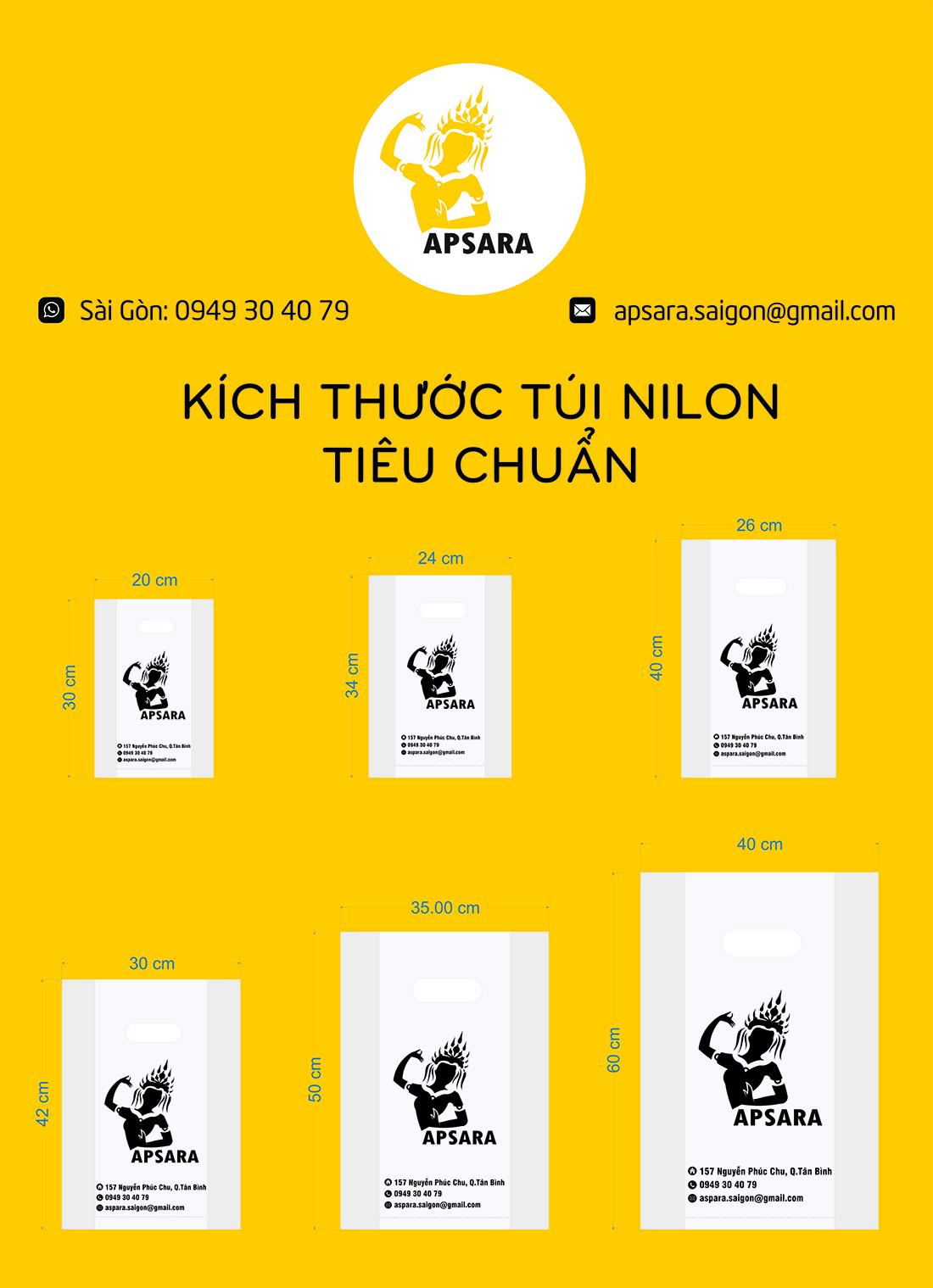 Kich thuoc tui nilon cho shop thoi trang, my pham, phu kien 2019